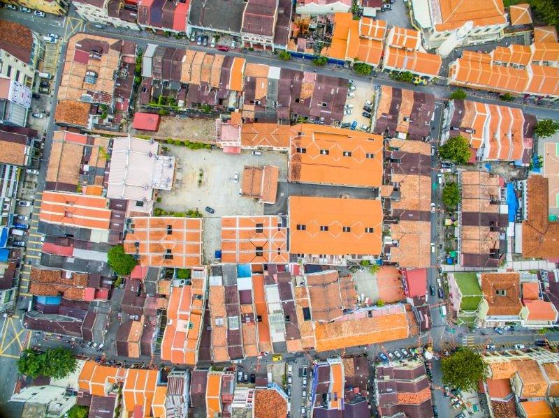 Roof Peranakan Rooftile Khoo Kongsi Drone View Georgetown Heritage Penang
